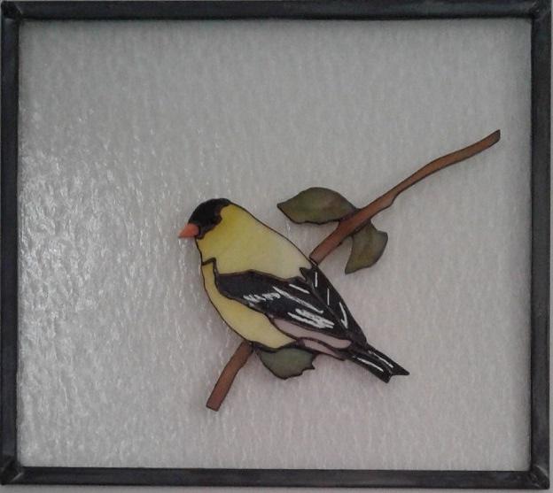 """Goldfinch (bird 009) 8 7/8"""" x 7 7/8""""   $115"""